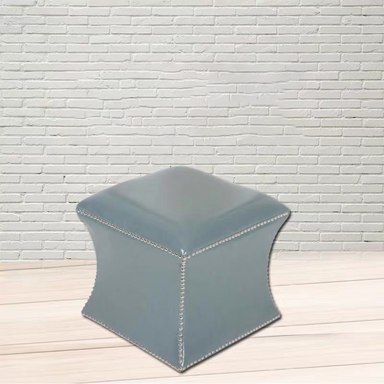 new style modern square brown black moroccan PU leather ottoman pouf stool
