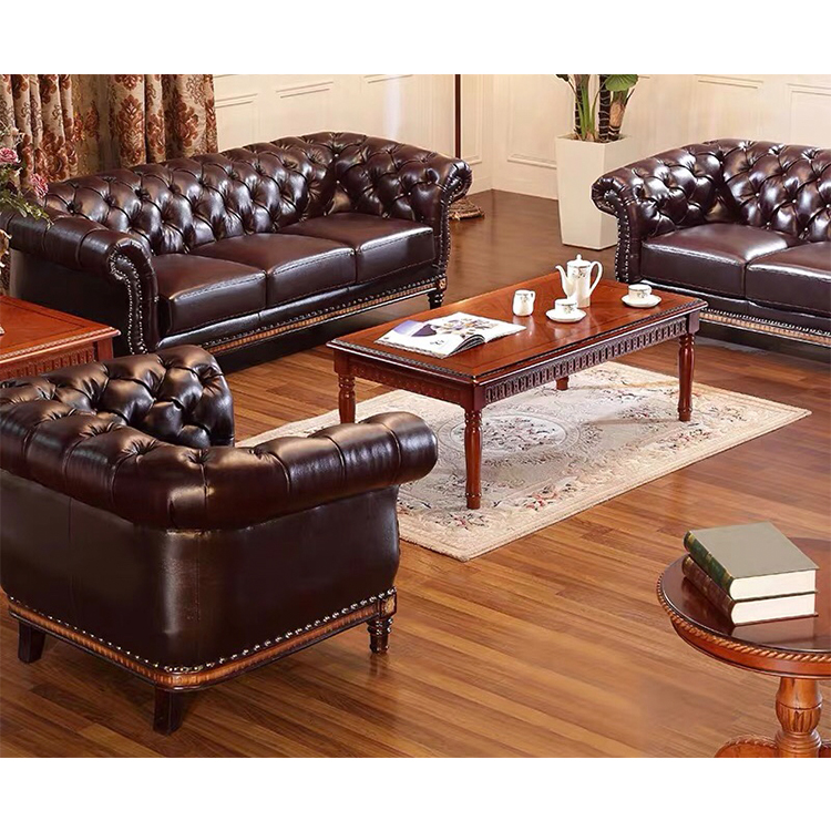 custom morden office 3 2 seater brown European living room furniture sofa set of chesterfield leather sofa