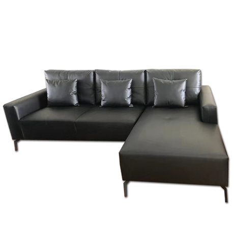 New fashion modern luxury 3 seater black leather couches living room sofa set for hotel office