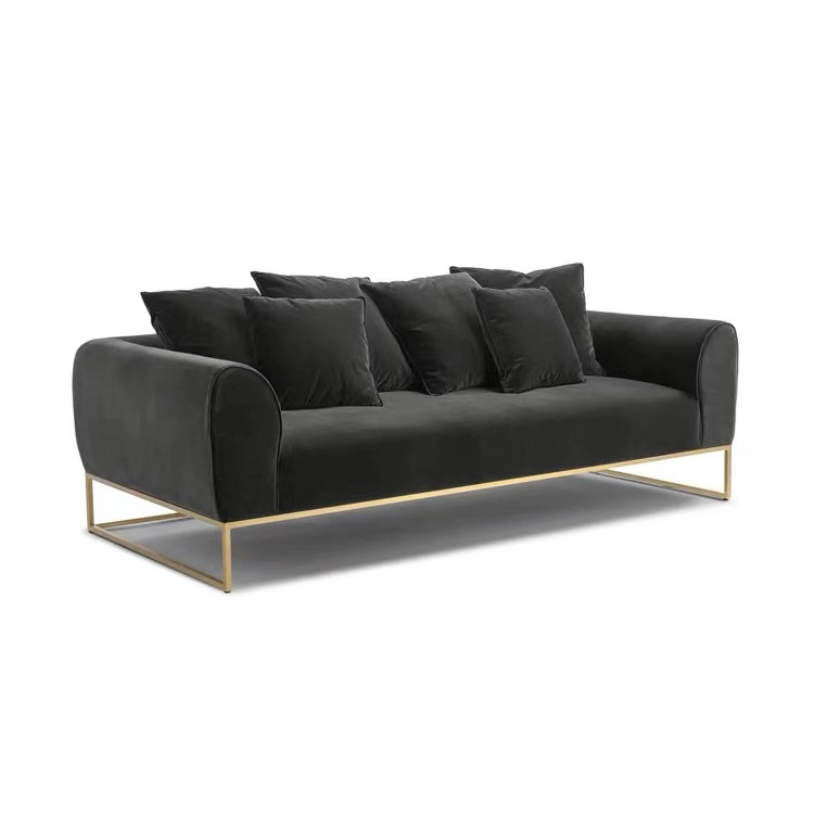 Leisure style 3 seater office led sectional lounge velvet sofa set with metal legs for bed room