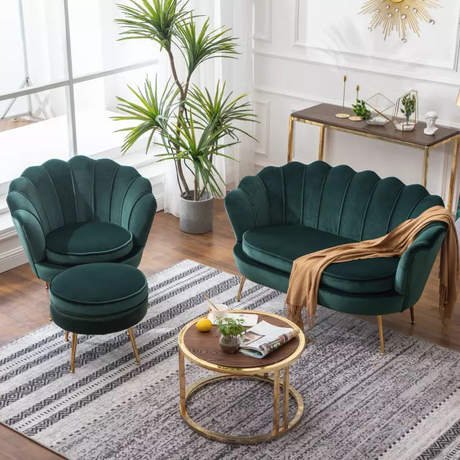 Custom modern hotel round lobby office living room green pink single sitting highback velvet armchair sofa chair