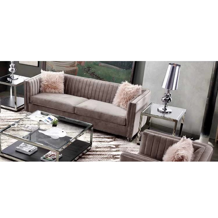 New fashion 3-piece living room crushed pink velvet couch restaurant booth recliner sofa set