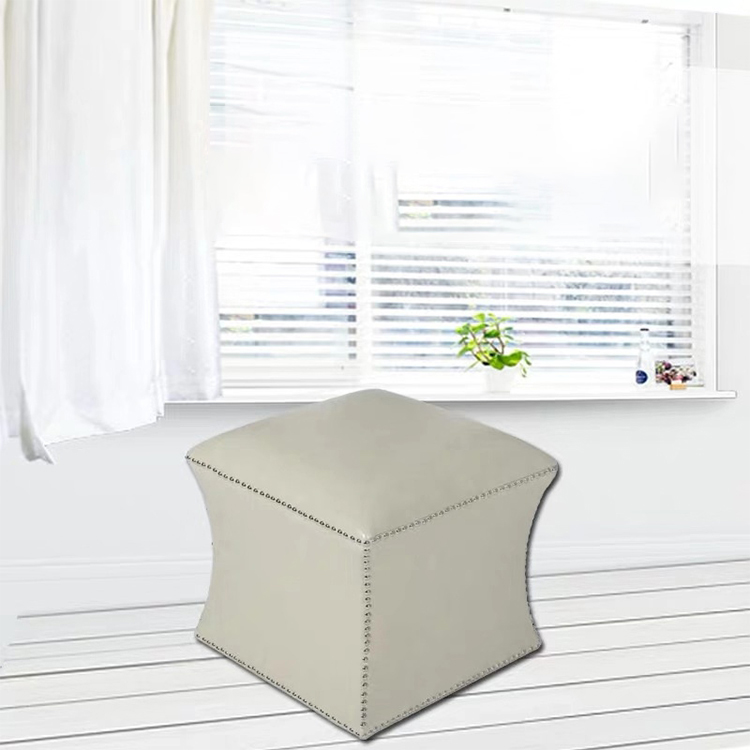 Custom Modern Good Support Seat Moroccan PU Leather Poufs Home Stool