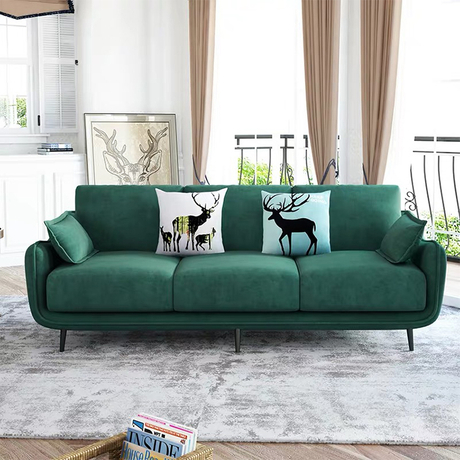 Royal style fashion design post modern home furniture luxury minimalist suede fabric villa 3 seater sofa
