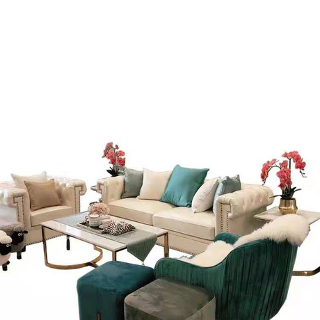 Leisure modern designer living room white genuine leather couches 6 seater recliner sofas set
