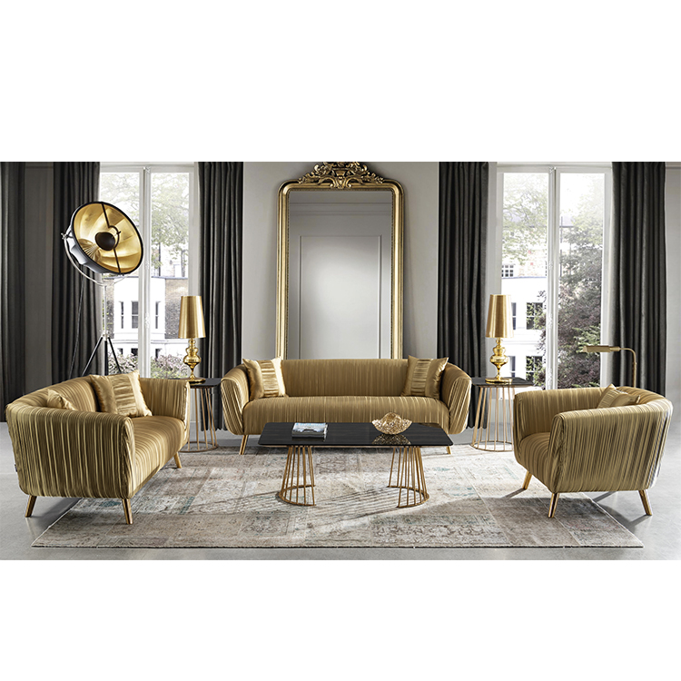 custom royal gold couch living room furniture floor fabric 3 seater sofa set