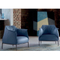 French style custom modern coffee house single blue leather sofa chair set with solid wooden legs