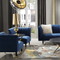 7 seater luxury antique blue velvet furniture living room fabric sofa set