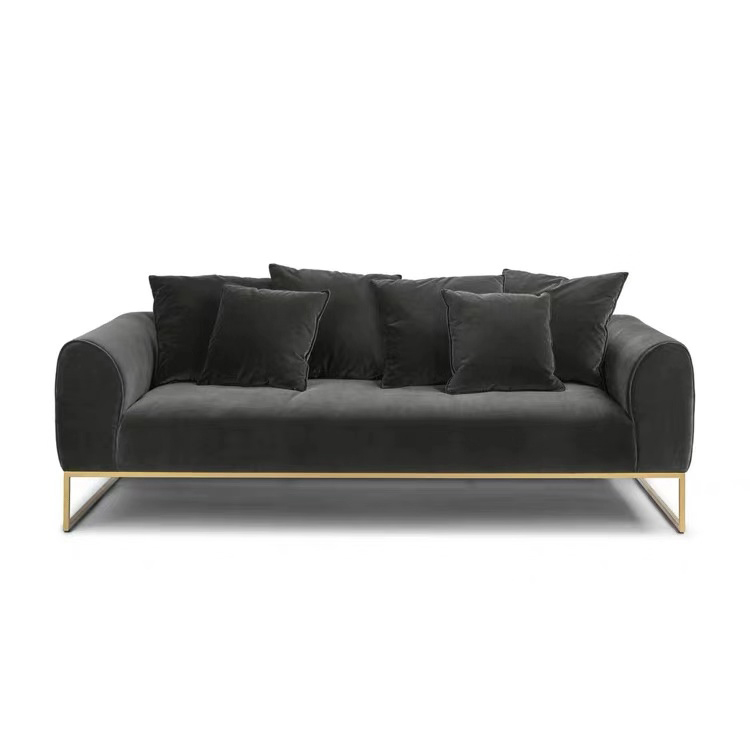 custom european style 3 seater office led sectional lounge velvet sofa set with metal legs