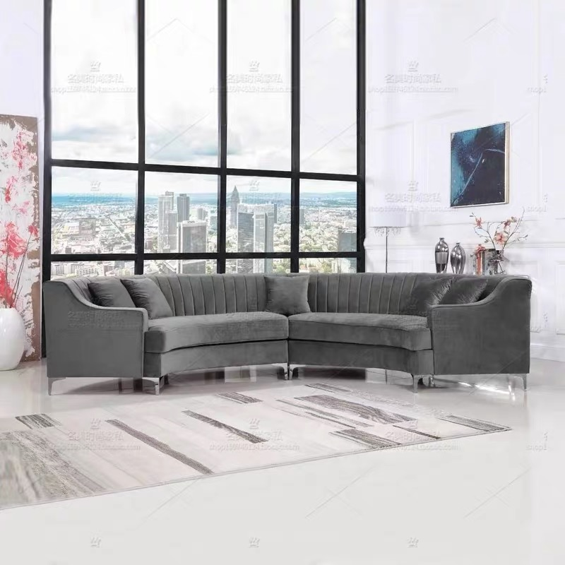 custom modern american style luxury sitting room high back corner 6 7 seater round sofa set with single chair