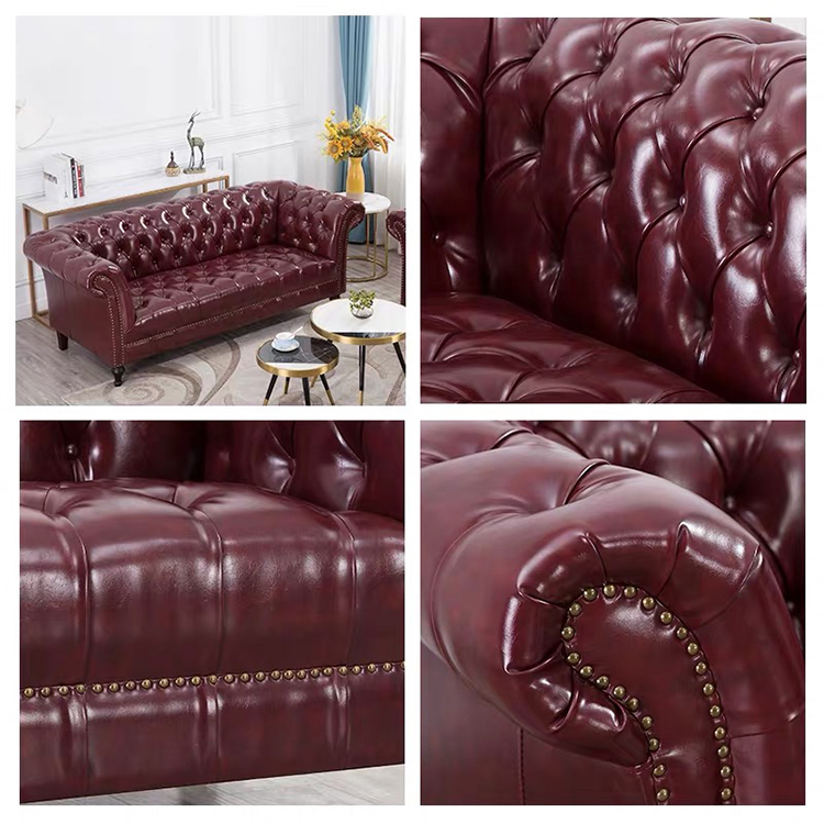 European style genuine leather chesterfield brown recliner couches sectional furniture sofa set for lobby